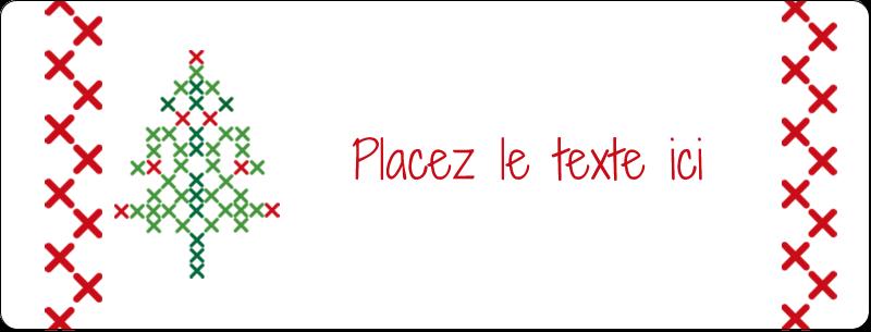 """½"""" x 1¾"""" Étiquettes D'Adresse - Sapin en point de croix"""