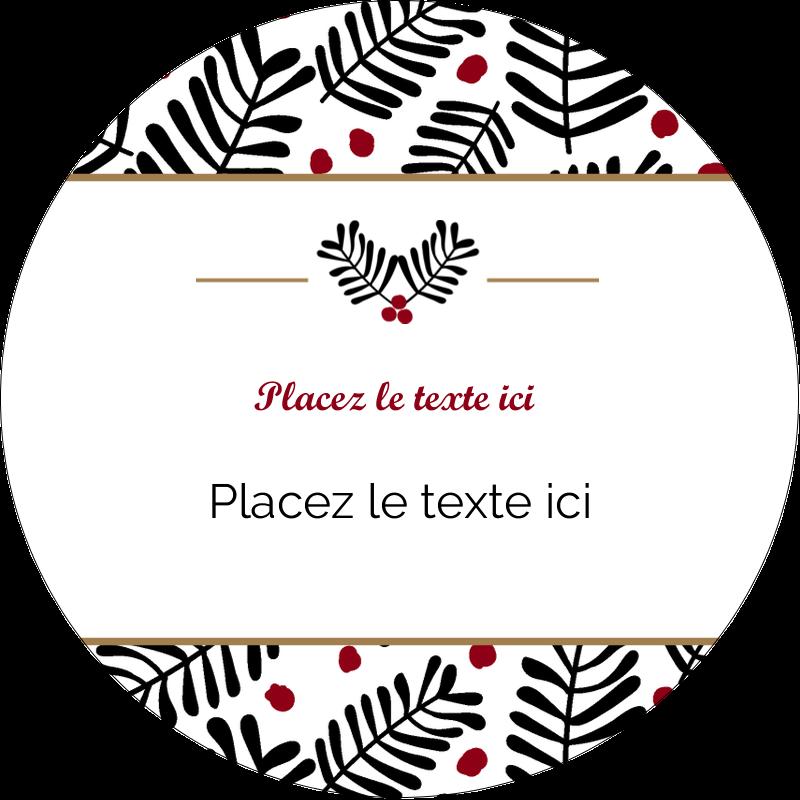 """3"""" Diameter Étiquettes rondes - Fleurs de Noël"""