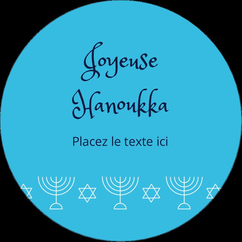 """3"""" Diameter Étiquettes rondes - Chandelier de Hanoukka"""