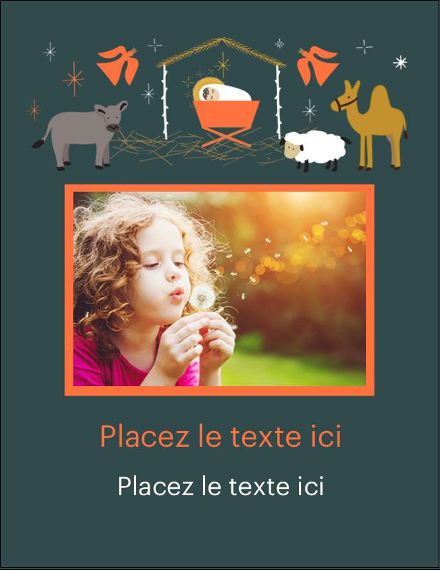 """5½"""" x 4¼"""" Carte Postale - Animaux de la crèche"""