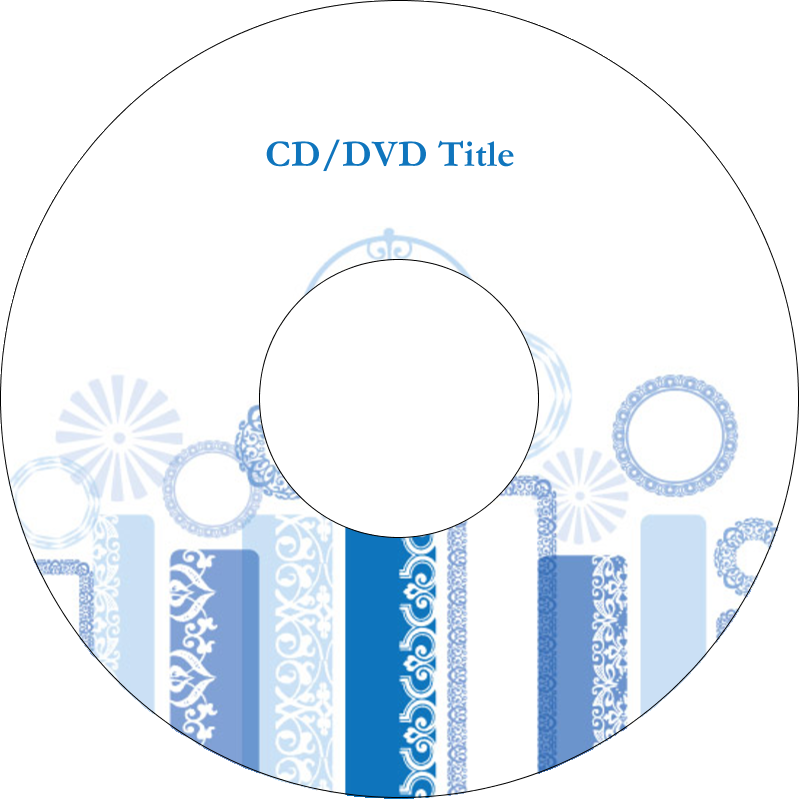 "4.65"" CD-DVD Label - Hanukkah Menorah Blue"
