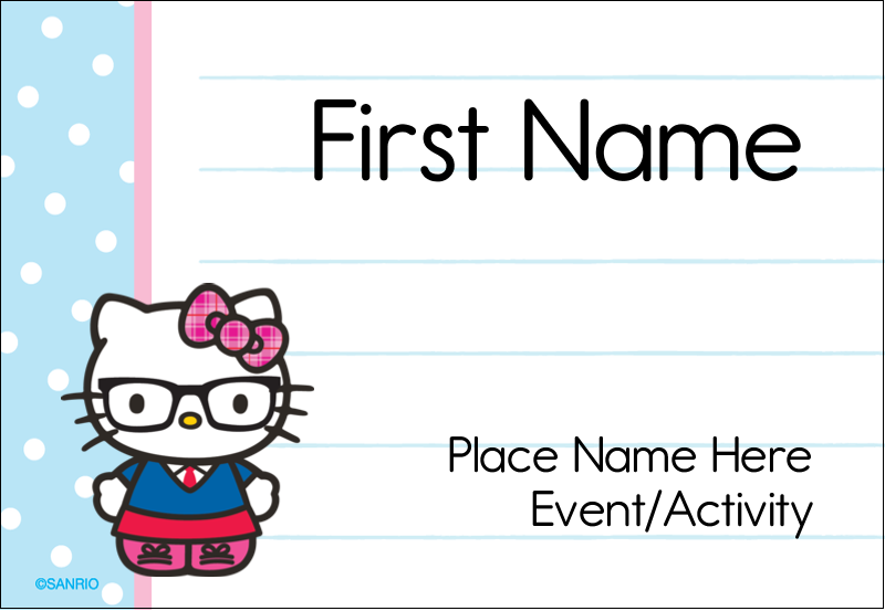 """3⅜"""" x 2⅓"""" Name Badge - Hello Kitty with Glasses"""