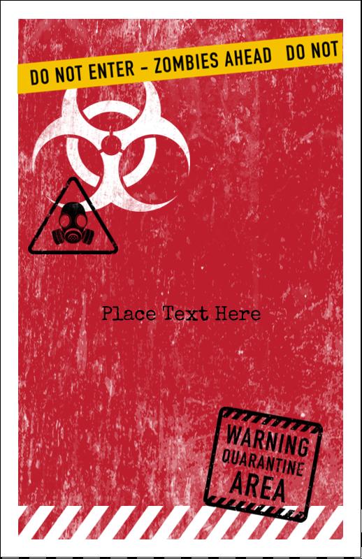 "5"" x 8½"" Half Fold Card - Halloween Zombie Apocalypse"