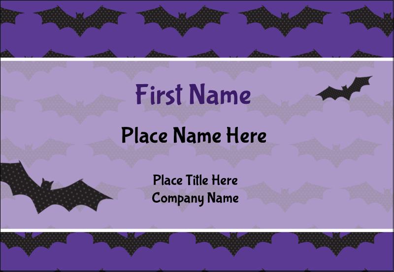 "3⅜"" x 2⅓"" Name Badge - Halloween Bats"