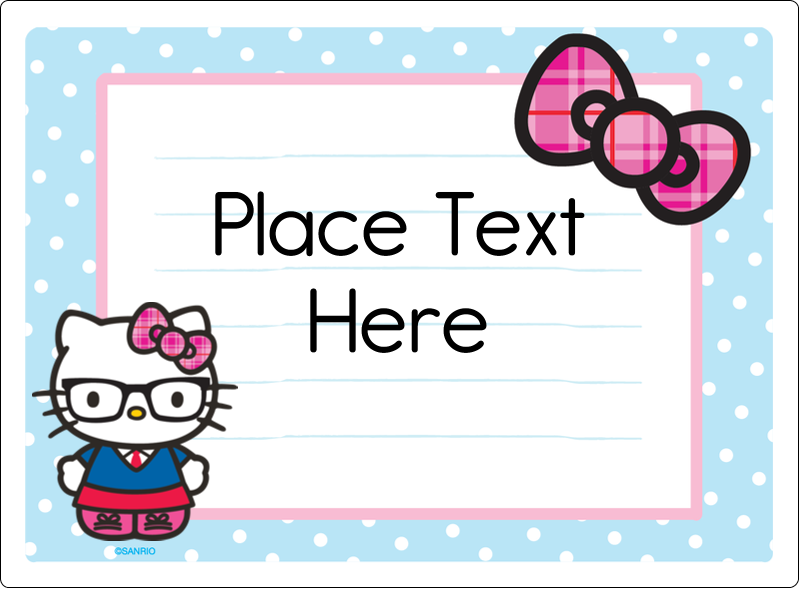 "3½"" x 4¾"" Rectangular Label - Hello Kitty with Glasses"