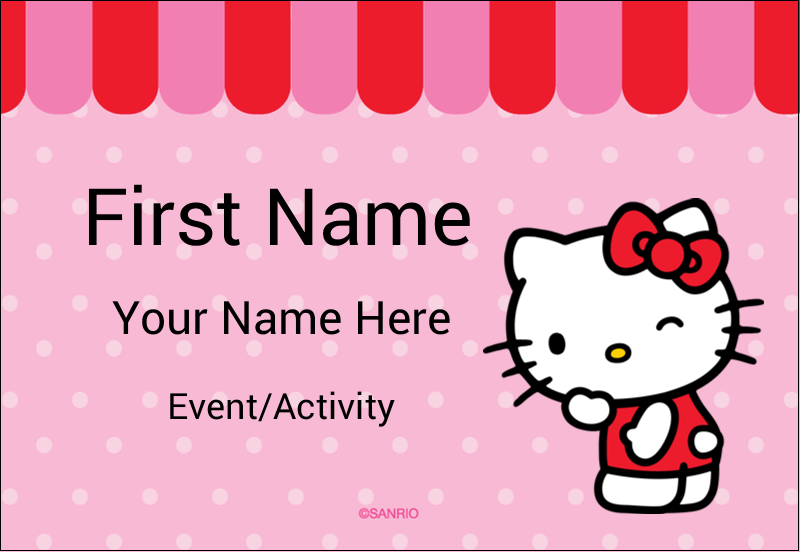 "3⅜"" x 2⅓"" Name Badge - Sweet Hello Kitty"