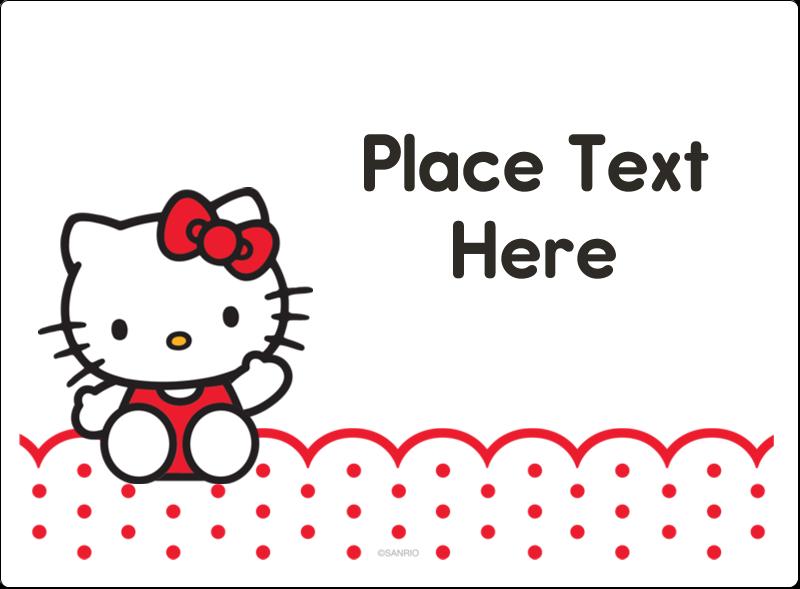 "3½"" x 4¾"" Rectangular Label - Hello Kitty Waving"
