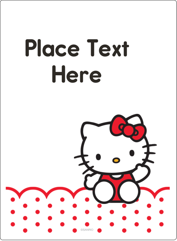 "4¾"" x 3½"" Rectangular Label - Hello Kitty Waving"