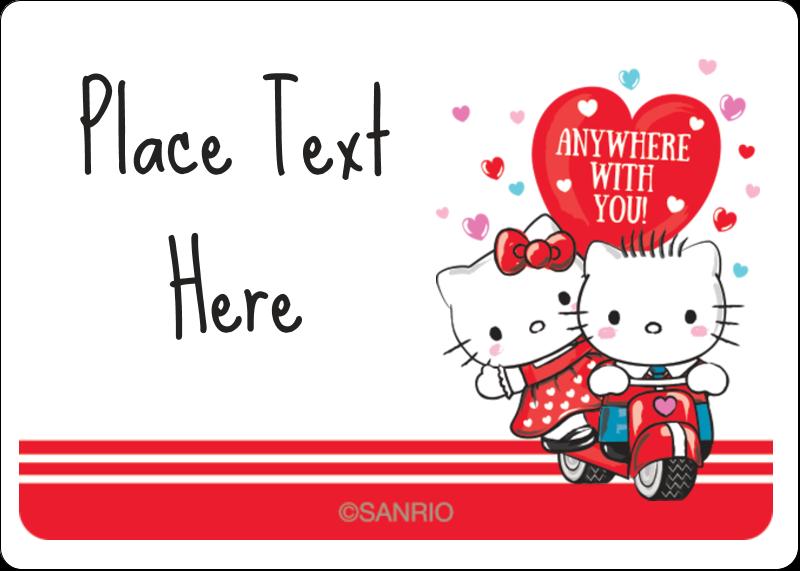 """1¾"""" x 1¼"""" ID Label - Hello Kitty & Dear Daniel Valentine"""