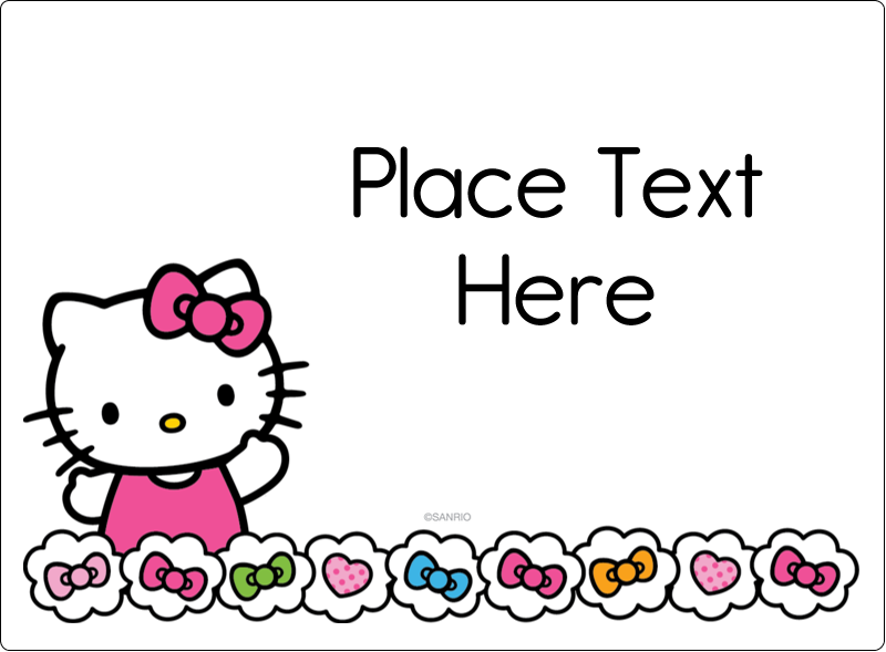 """3½"""" x 4¾"""" Rectangular Label - Hello Kitty Hearts and Bows"""
