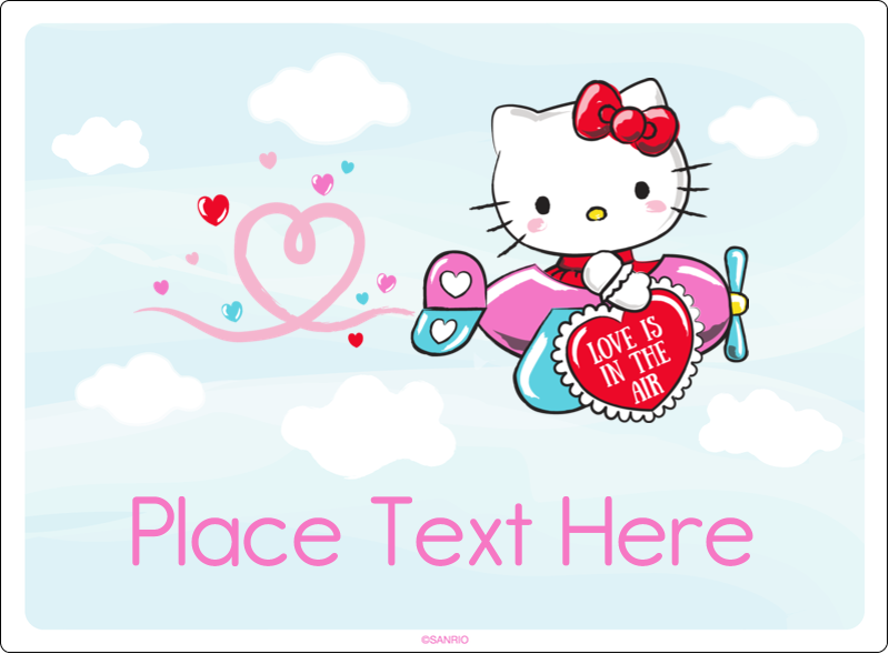 "3½"" x 4¾"" Rectangular Label - Hello Kitty Valentine - You Make My Heart Soar"