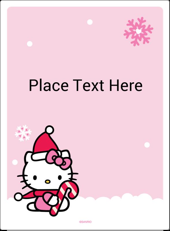 "4¾"" x 3½"" Rectangular Label - Hello Kitty Candy Cane Christmas"