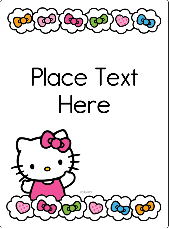 "4¾"" x 3½"" Rectangular Label - Hello Kitty Hearts and Bows"