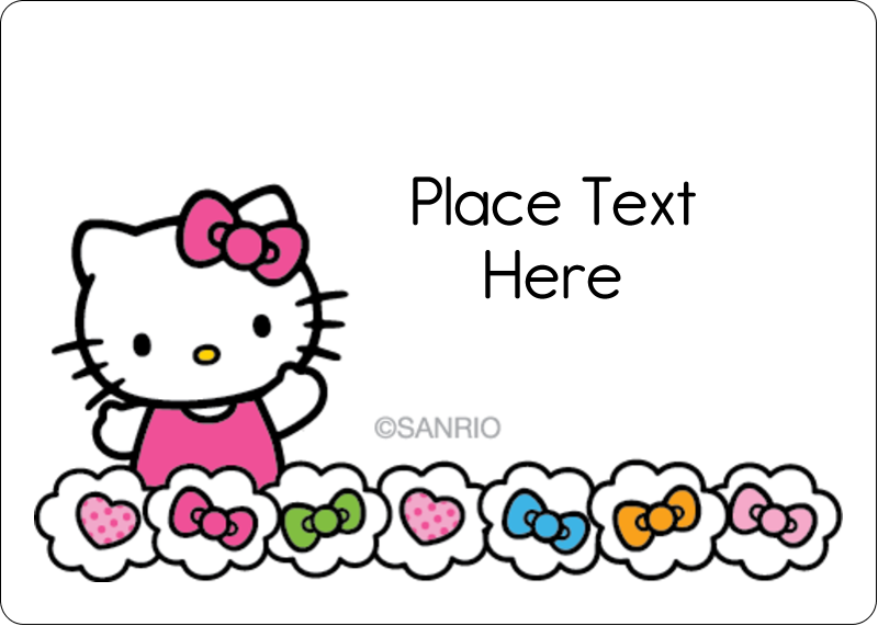 """1¾"""" x 1¼"""" ID Label - Hello Kitty Hearts and Bows"""