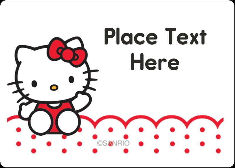 "1¾"" x 1¼"" ID Label - Hello Kitty Waving"