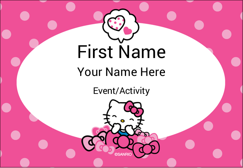 "3⅜"" x 2⅓"" Name Badge - Hello Kitty Giggles"