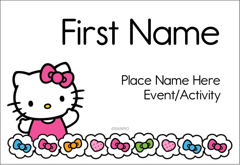 "3⅜"" x 2⅓"" Name Badge - Hello Kitty Hearts and Bows"