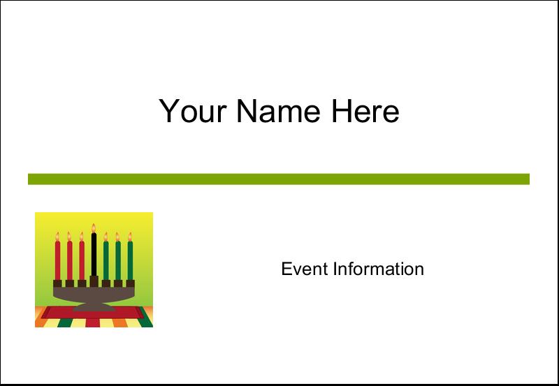"""3⅜"""" x 2⅓"""" Name Badge - Kwanzaa Green Glow"""