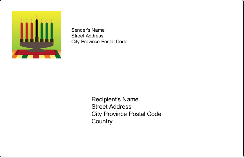 "5½"" x 8½"" Shipping Label - Kwanzaa Green Glow"