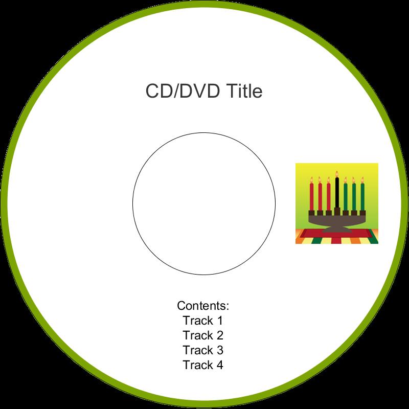 "4.65"" CD-DVD Label - Kwanzaa Green Glow"