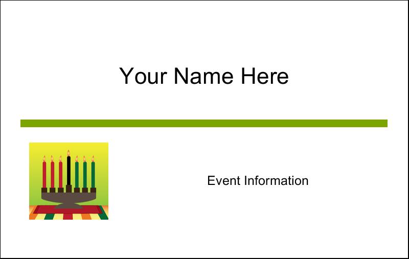 """2¼"""" x 3½"""" Name Tags - Kwanzaa Green Glow"""