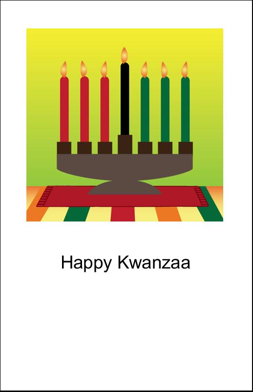 """5"""" x 8½"""" Half Fold Card - Kwanzaa Green Glow"""