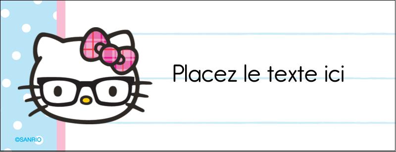 """1-7/16"""" x 3¾"""" Affichette - Hello Kitty avec des lunettes"""