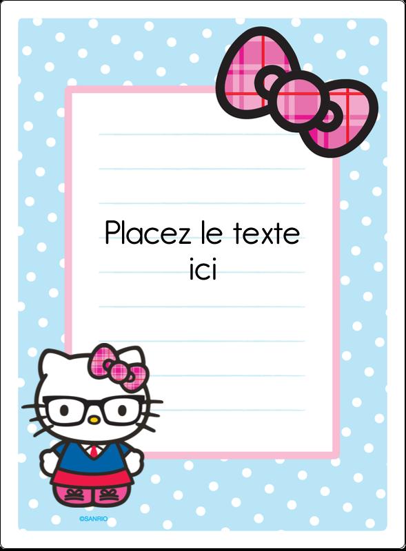 """4¾"""" x 3½"""" Étiquettes rectangulaires - Hello Kitty avec des lunettes"""