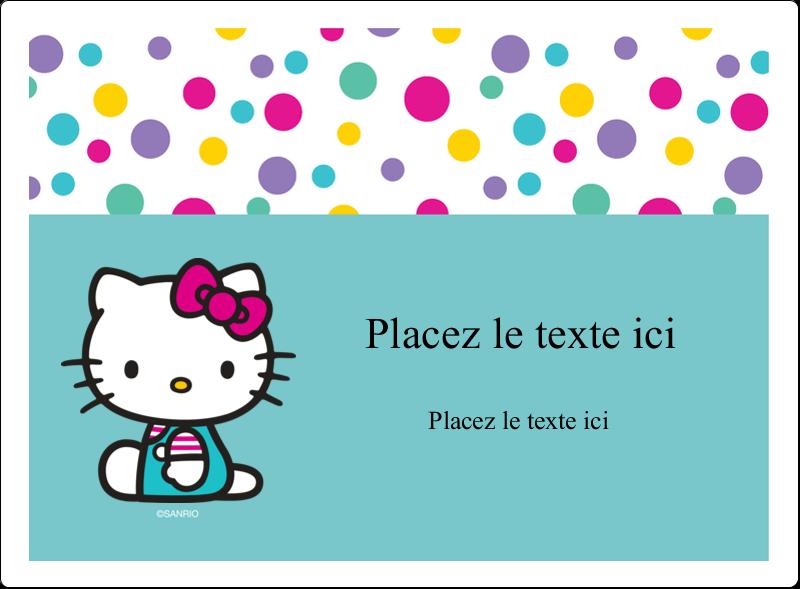 """4¾"""" x 3½"""" Étiquettes rectangulaires - Fête Hello Kitty"""