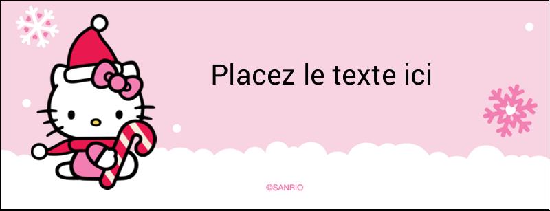 "1-7/16"" x 3¾"" Affichette - Canne en bonbon de Noël Hello Kitty"