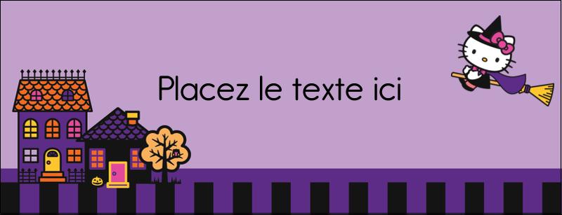"""1-7/16"""" x 3¾"""" Affichette - Halloween Hello Kitty"""