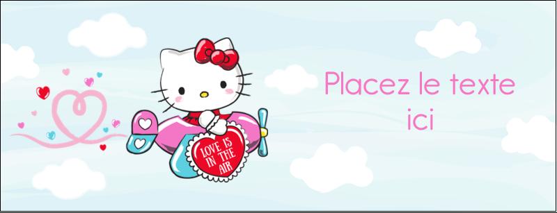 """1-7/16"""" x 3¾"""" Affichette - Hello Kitty Saint-Valentin - Mon cœur monte pour vous"""