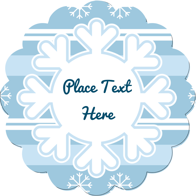 "2½"" Scallop Labels - Blue Snowflake"
