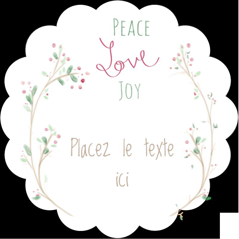 """2½"""" Diameter Étiquettes rondes - Les gabarits Paix, amour et joie pour votre prochain projet créatif des Fêtes"""