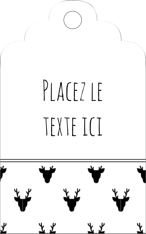"""1⅛"""" x 2"""" Étiquettes imprimables - Motif de renne noir et blanc"""