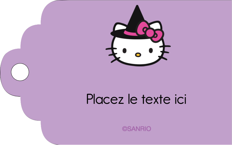 """2"""" x 1⅛"""" Étiquettes imprimables - Halloween Hello Kitty"""