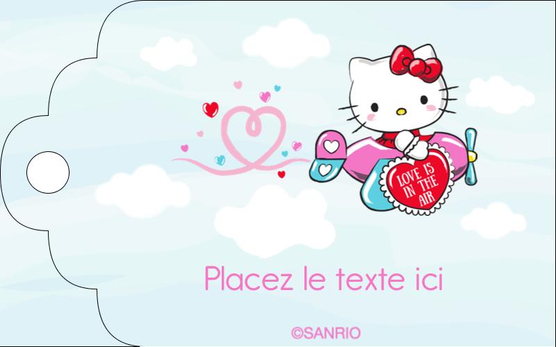 """2"""" x 1⅛"""" Étiquettes imprimables - Hello Kitty Saint-Valentin - Mon cœur monte pour vous"""
