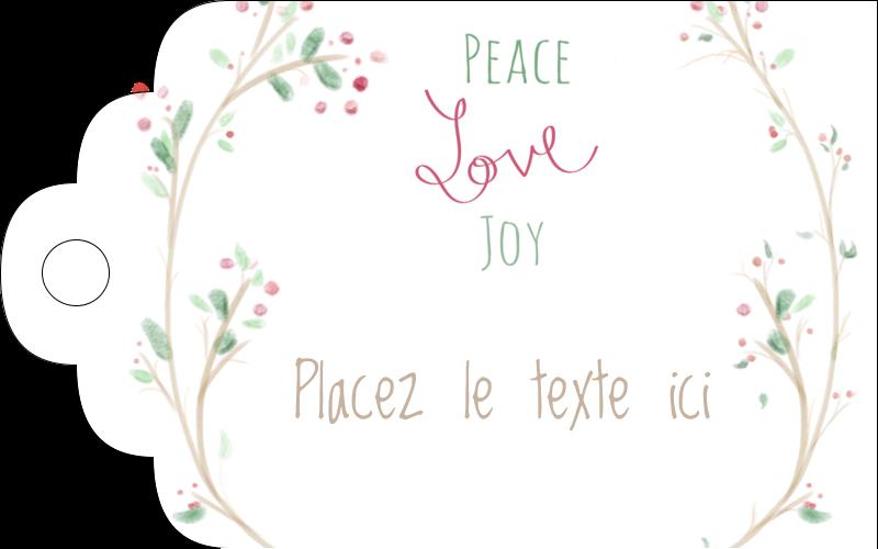 """2"""" x 1⅛"""" Étiquettes imprimables - Les gabarits Paix, amour et joie pour votre prochain projet créatif des Fêtes"""