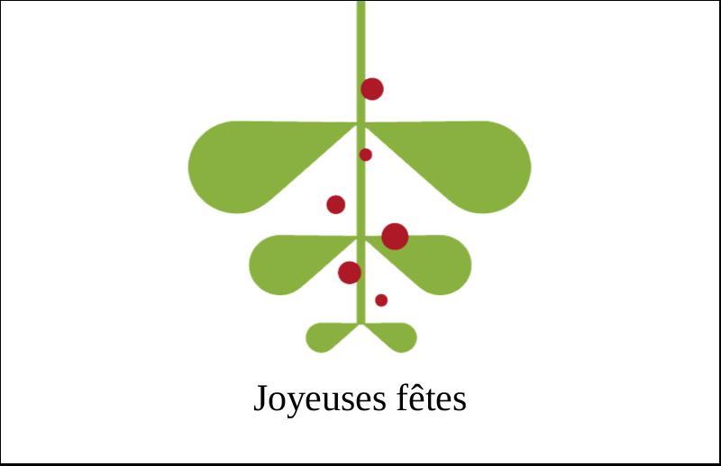 """5½"""" x 8½"""" Cartes de souhaits pliées en deux - Branche de gui"""