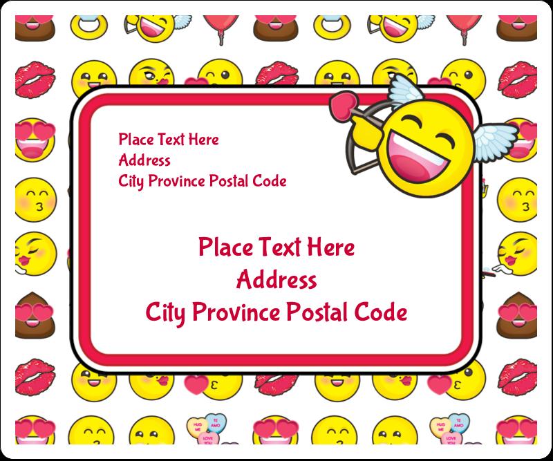 "3⅓"" x 4"" Shipping Label - Valentine Emoji"