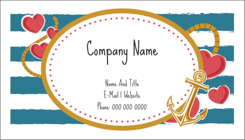 "2"" x 3½"" Business Card - Valentine Anchor"
