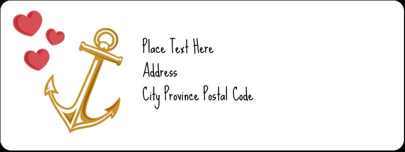 "⅔"" x 1¾"" Address Label - Valentine Anchor"