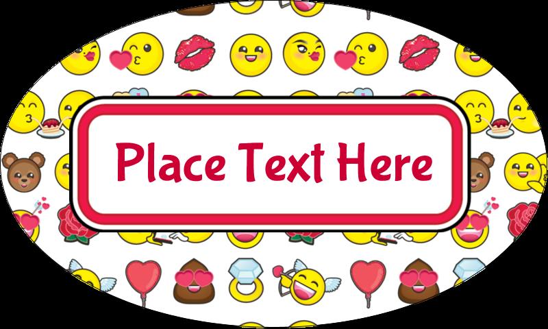 "1½"" x 2½"" Oval Glossy Label - Valentine Emoji"