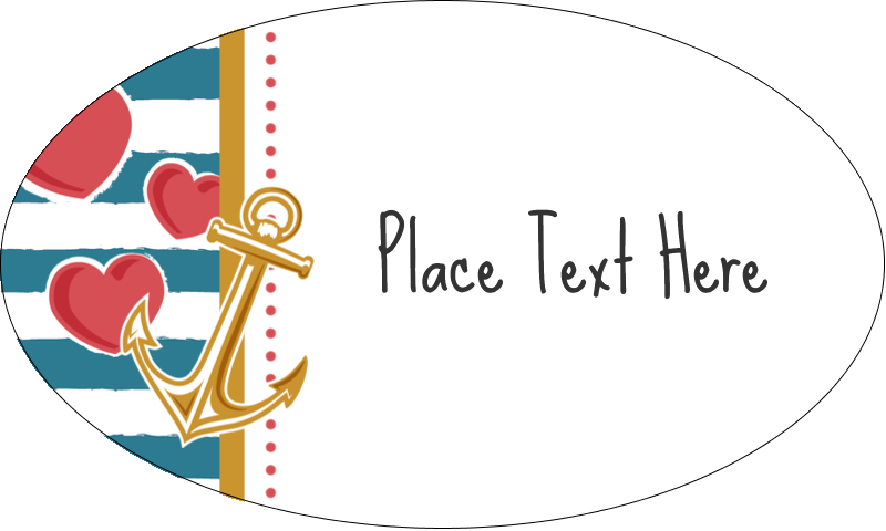 "1½"" x 2½"" Oval Glossy Label - Valentine Anchor"