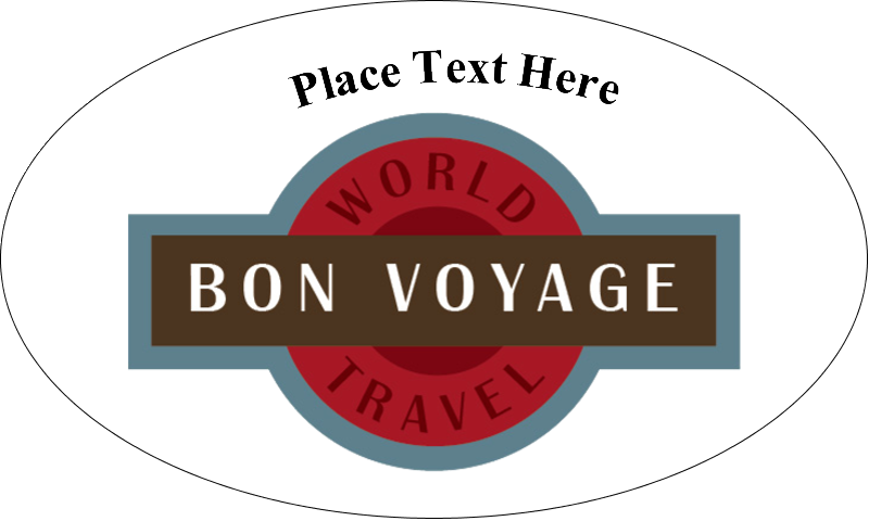 "1½"" x 2½"" Oval Glossy Label - Vintage Travel"