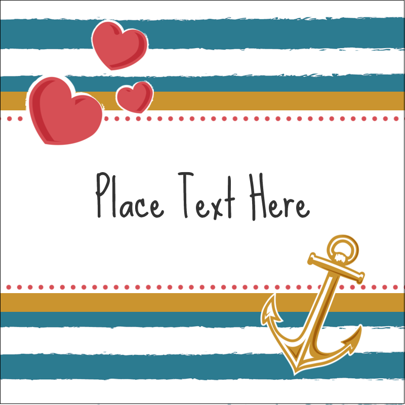 "1½"" x 1½"" Square Label - Valentine Anchor"