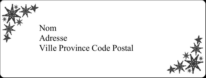 """1"""" x 2⅝"""" Étiquettes d'adresse - Angle étoilé"""