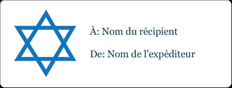 """1"""" x 2⅝"""" Étiquettes d'adresse - Étoile de David"""