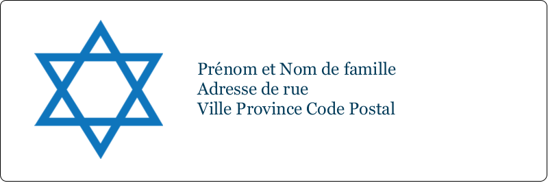 """1⅓"""" x 4"""" Étiquettes d'adresse - Étoile de David"""