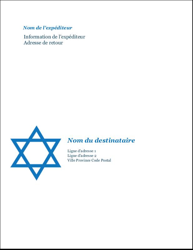 """11"""" x 8½"""" Étiquettes d'expéditions - Étoile de David"""